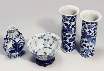 Four Chinese blue and white ve