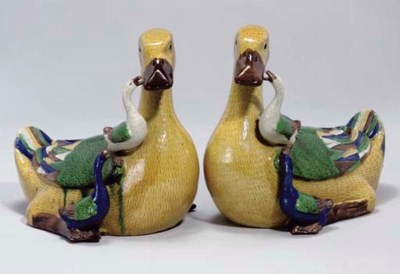 A Pair of Chinese glazed biscu