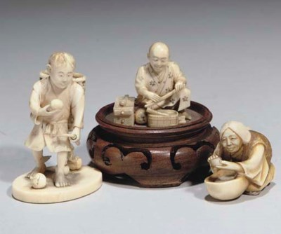 A group of Japanese ivory figu