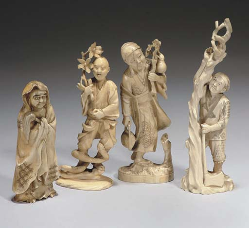 Four Japanese ivory okimono, 1