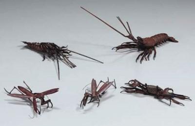 Five Japanese copper articulat