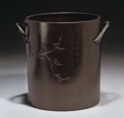 A Chinese bronze urn, 19th cen