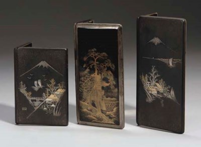 Three Japanese cigarette cases