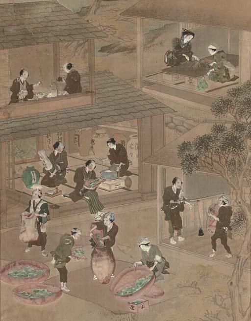Five Japanese panels, 19th cen