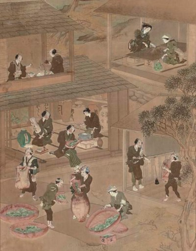 Five Japanese panels, 19th cen