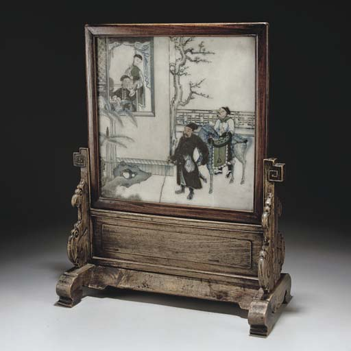 A Chinese painted marble table