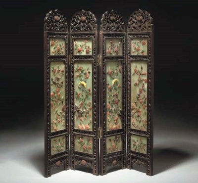 A Chinese wood and hardstone f