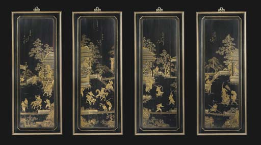 Eight Chinese black lacquer an