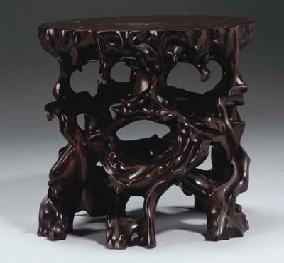 A Chinese hardwood stand, 19th