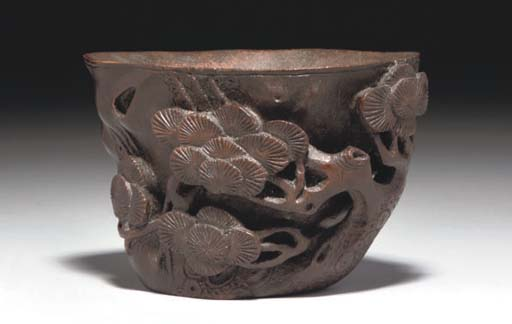 A Chinese bamboo libation cup,