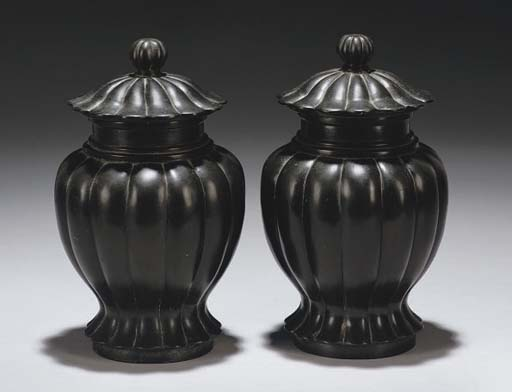 A pair of Chinese bronze lobed