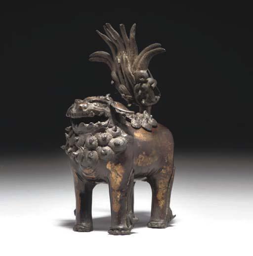 A Chinese parcel gilt bronze l