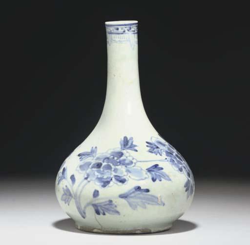 A Korean blue and white bottle