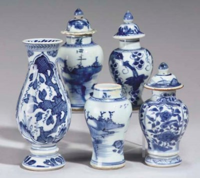 Five Chinese blue and white mi