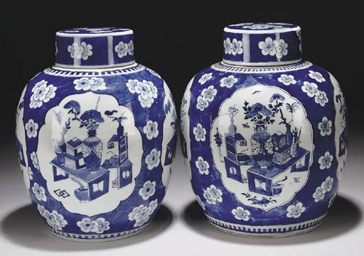 Two Chinese blue and white ovo