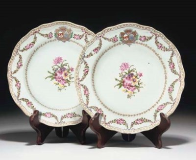 A Pair of Chinese armorial Fre
