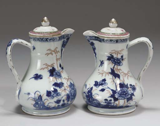 A pair of Chinese Imari jugs a