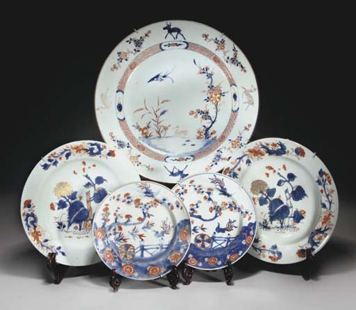 A Chinese imari charger and tw