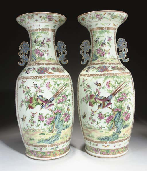A pair of Cantonese vases, 19t