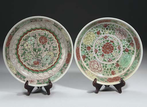 Two Chinese wucai dishes, 17th