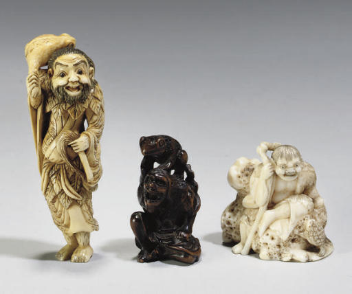 three Japanese netsuke of Gama Sennin, 19th Century