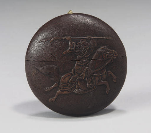 A Japanese wood one case inro, 19th Century