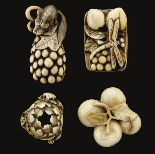A group of four Japanese ivory netsuke, 19th Century