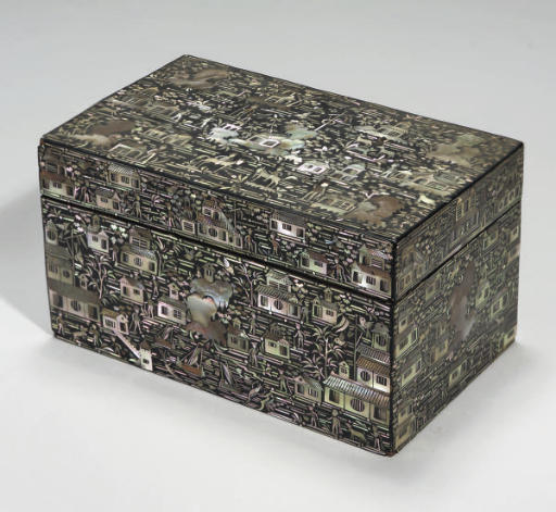 A Mother of pearl inlaid lacquer rectangular box and hinged cover, 19th Century
