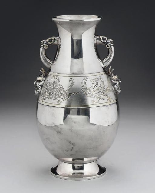 A Japanese silver baluster vase, Meiji Period (1868-1912)