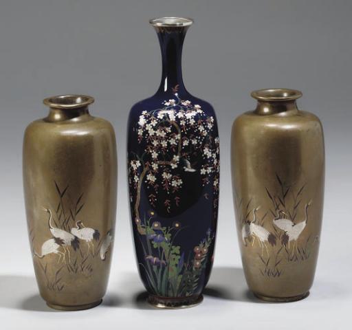 A Pair of Japanese inlaid bronze vases, 19th Century