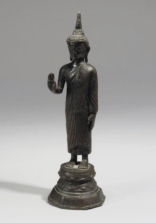 A Burmese bronze standing Buddha, 19th/20th century