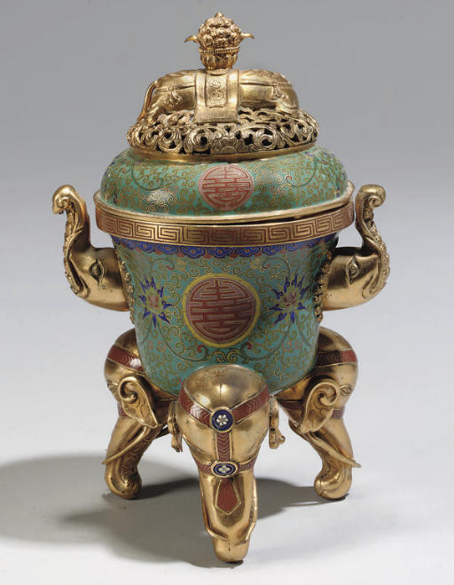 A Chinese cloisonne tripod censer and cover, 19th/20th Century