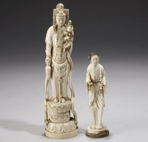 Five Asian carved ivory figures, 18th Century and later