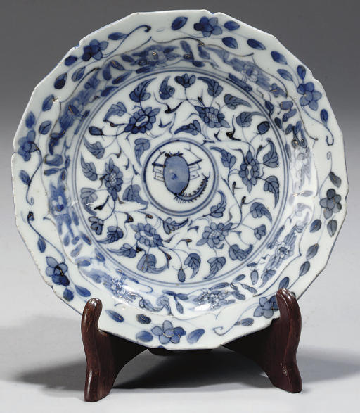 A Chinese blue and white 'scorpion' dish, Ming Dynasty (1368-1644)
