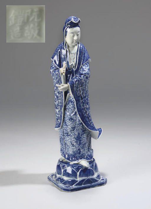 A Chinese blue and white figure of Guanyin, 20th Century