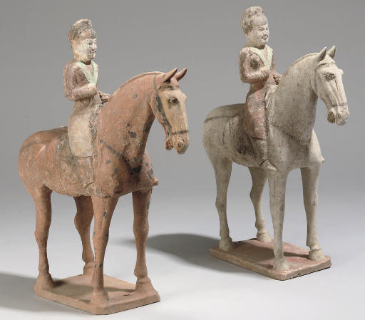 Two Chinese equestrian pottery figures, Tang (618-907)