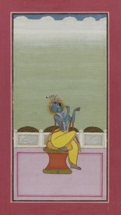KRISHNA FLUTING ON A TERRACE,