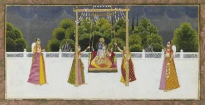 KRISHNA AND RADHA ON A SWING,