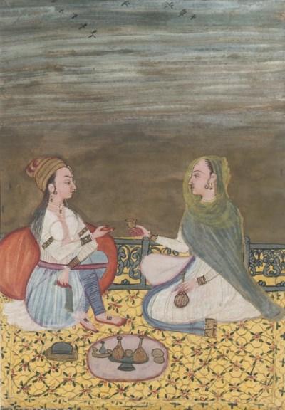 TWO LADIES ON A TERRACE, RAJAS