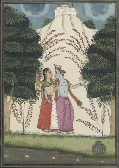 KRISHNA AND RADHA ON A RIVER B