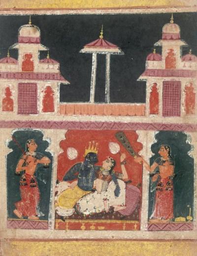 KRISHNA AND RADHA IN A PAVILIO