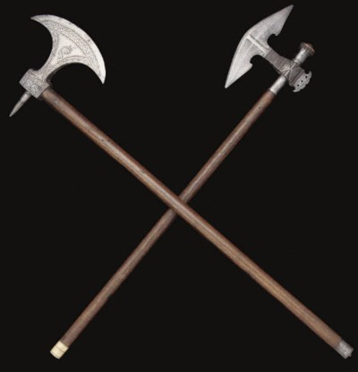 A BULLOVA AXE AND A BATTLEAXE,