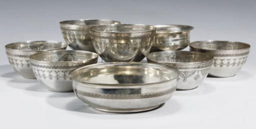 A GROUP OF SILVER BOWLS, EGYPT