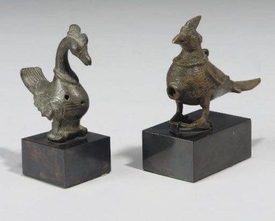 TWO BRONZE BIRDS, IRAN AND IND