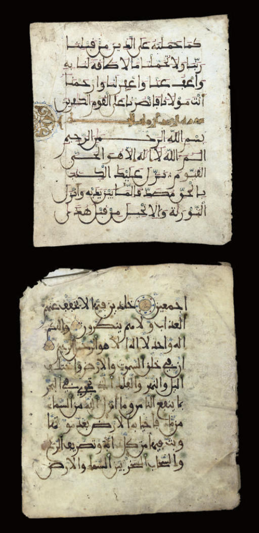THREE FOLIOS FROM A PARCHMENT