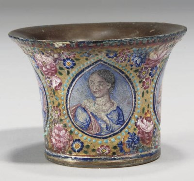 A QAJAR ENAMEL AND GILT COPPER