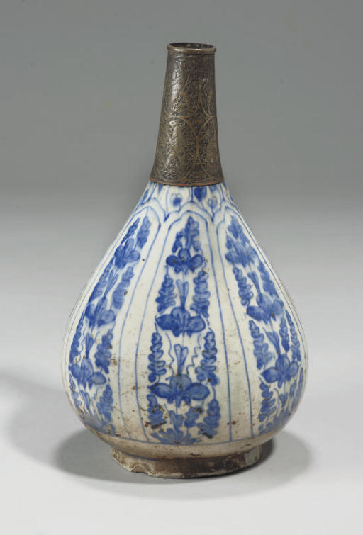 A SAFAVID BLUE AND WHITE PEAR