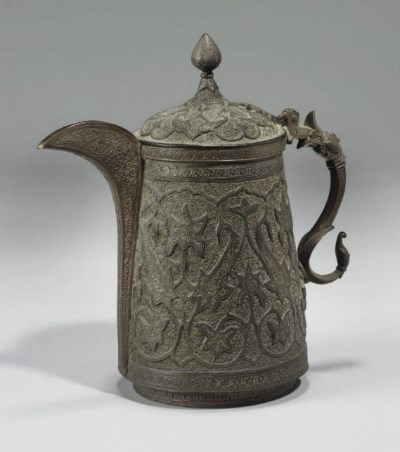 A LARGE REPOUSSE COPPER COFFEE