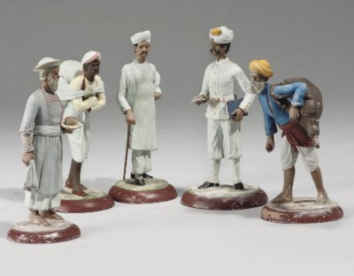 A GROUP OF FIVE PAINTED TERRAC