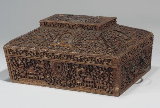 A CARVED SANDLEWOOD BOX, INDIA